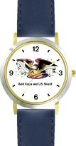 American Eagle and US Shield American Theme - WATCHBUDDY® DELUXE TWO-TONE THEME WATCH - Arabic Numbers - Blue Leather Strap-Women's Size-Small