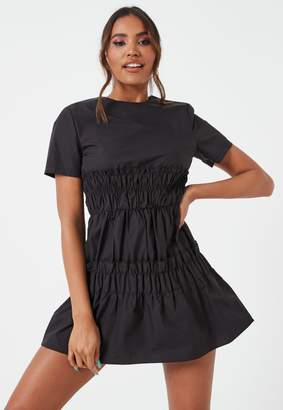 Missguided Black Ruched Waist Short Sleeve Mini Dress