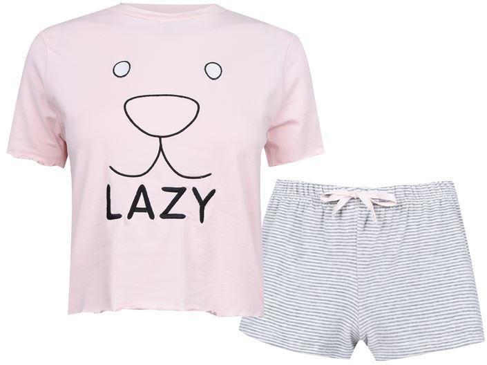 Fabric Velvet Stripe Shorts Soft Pyjama Set with Lazy Slogan