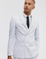 Lockstock slim double breasted suit jacket in blue with fine stripe