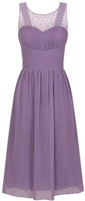 Little Mistress Grace Lilac Embellished Neck Midi Dress