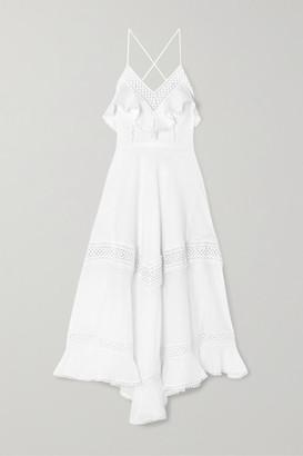 Charo Ruiz Ibiza Sabine Crocheted Lace-paneled Cotton-blend Midi Dress - White