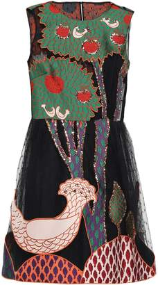 RED Valentino Flared Appliqued Sequin-embellished Mini Dress