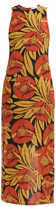 Raey Racerback Floral-print Silk-chintz Dress - Womens - Orange Multi