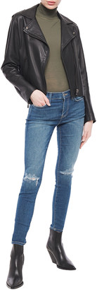 Current/Elliott Joey Dark Destroy Distressed High-rise Skinny Jeans