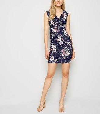 New Look Floral Wrap Bodycon Dress