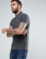 Jack Wills Edgware Tipped Polo Pique Small Logo in Charcoal
