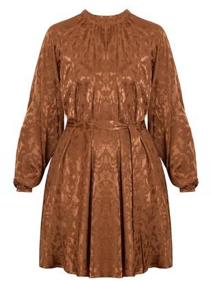 Undress Sila Brown Textured Fabric Raglan Sleeve Flare Mini Dress