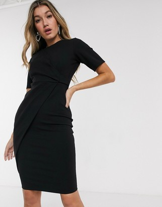 Closet London pleated detail wrap dress in black