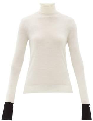 Rochas Roll Neck Wool Blend Cuff Sweater - Womens - White