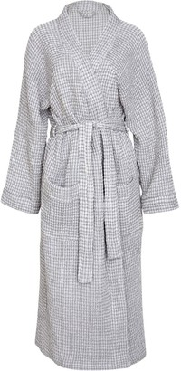 Wallace Cotton Misty Pure Cotton Waffle Robe Grey