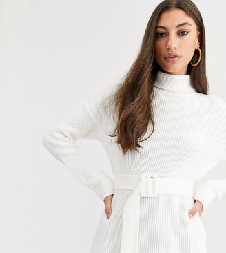 Fashion Union Tall high neck fitted jumper with waist belt-Cream
