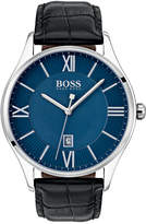 BOSS Men's Governor Black Leather Strap Watch 44mm