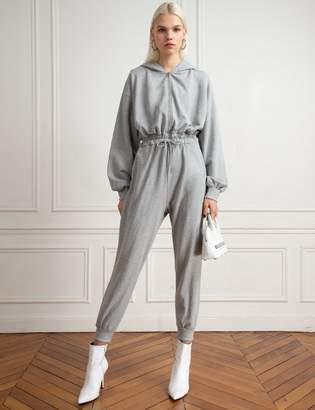 Grey Hoodie Sweatshirt Jumpsuit