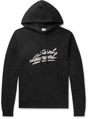 Saint Laurent Logo-Print Fleece-Back Cotton-Jersey Hoodie