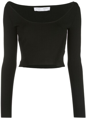 Proenza Schouler White Label Wide Scoop-Neck Knit Top