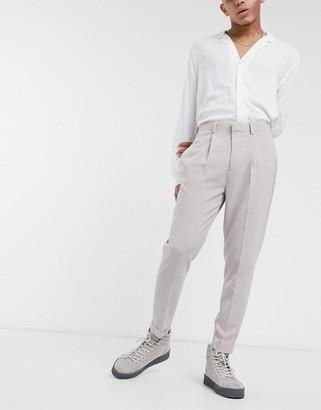 ASOS DESIGN tapered smart pants in cross hatch