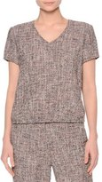 Giorgio Armani Short-Sleeve V-Neck Boucle Top, Camel/Gray