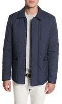 Loro Piana Wind Stretch Storm System® Quilted Horsey® Jacket, Blue Navy