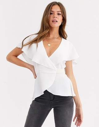Asos Design DESIGN short sleeve wrap top with cape detail and contrast tie