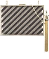 Monique Lhuillier tassel detail striped minaudière