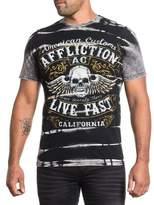 Affliction Men American Customs Shirt Panel Tee Skull Soul Leader S/s Crew Neck in /White