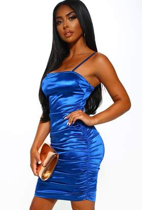 Pink Boutique Ibiza Party Electric Blue Satin Ruched Mini Dress