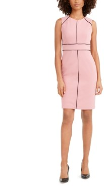 Nine West Contrast-Piped Jewel-Neck Sheath Dress