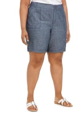 Karen Scott Plus Size Cotton Chambray Utility Shorts, Created for Macy's