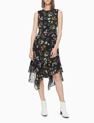 Calvin Klein Floral Sleeveless High Low Dress