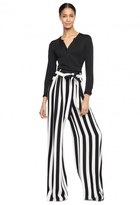 Milly Stripe Print Wide Leg Belted Trouser