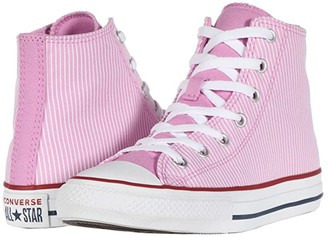 Converse Chuck Taylor(r) All Star(r) Pinstripe (Little Kid/Big Kid) (Peony Pink/Garnet/White) Girl's Shoes