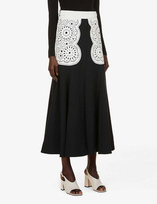Gabriela Hearst Ihlen high-waist silk-wool blend midi skirt