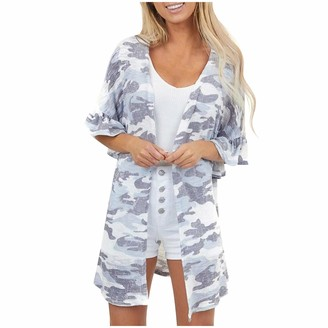 jieGorge Women's Coat Women's Fashion Ruffle Camouflage Cardigan Swimsuit Beach Cover-Up Coat