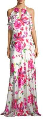 Theia Floral Halter Gown