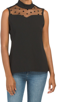 Mariah Sheer Yoke High Neck Sleeveless Top