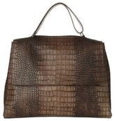 Orciani Large Sveva Croc Embossed Calfskin Leather Convertible Satchel - Brown
