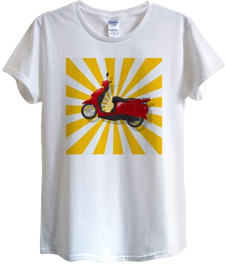 GETSHIRTED Scooter Vespa Ride Travel Summer Fun Tshirt Design Quality Cotton Women Fitted White