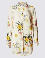 Marks and Spencer Floral Print Dipped Hem Long Sleeve Shirt