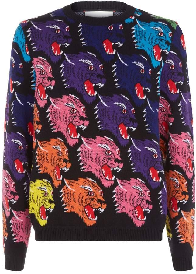 Gucci Jaquard Leopard Head Sweater