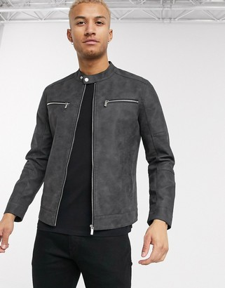 ONLY & SONS faux suede biker jacket in gray