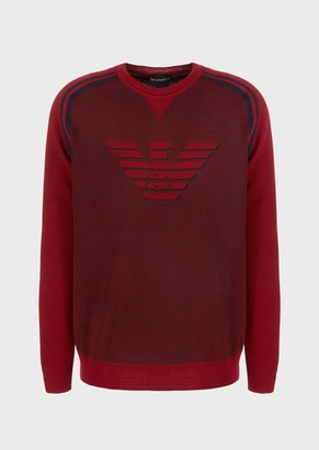 Emporio Armani Piquet Wool Blend Sweater With Oversized Jacquard Eagle