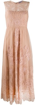 RED Valentino Floral Embroidery Point D'esprit Dress