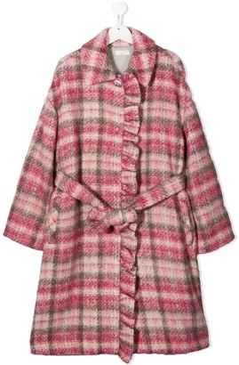 MonnaLisa TEEN knitted check patterned coat