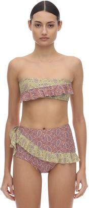 Alora Ruffled Lycra Bandeau Bikini Top