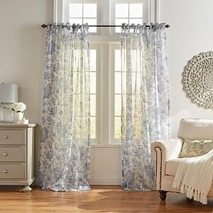 Elrene Home Fashions Westport Floral Tie-Top Sheer Curtain Panel, 52 x 95