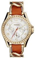 Fossil Women's ES3723 Riley Multifunction Gold-Tone Stainless Steel Watch with Leather Strap