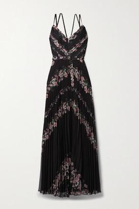 Marchesa Notte Belted Floral-print Plisse-chiffon Gown - Black