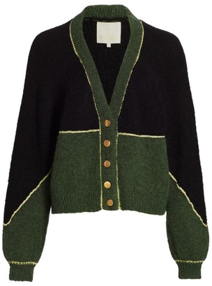 By Ti Mo Golden Knit Colorblock Cardigan