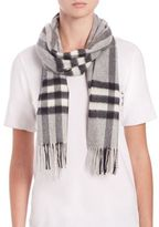 Burberry Pale Grey Giant Check Cashmere Scarf